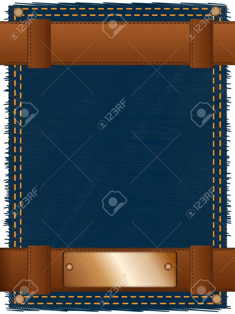 Abstract background made of two leather belts and a copper label located on a piece of a jeans fabric Stock Photo - 8759864