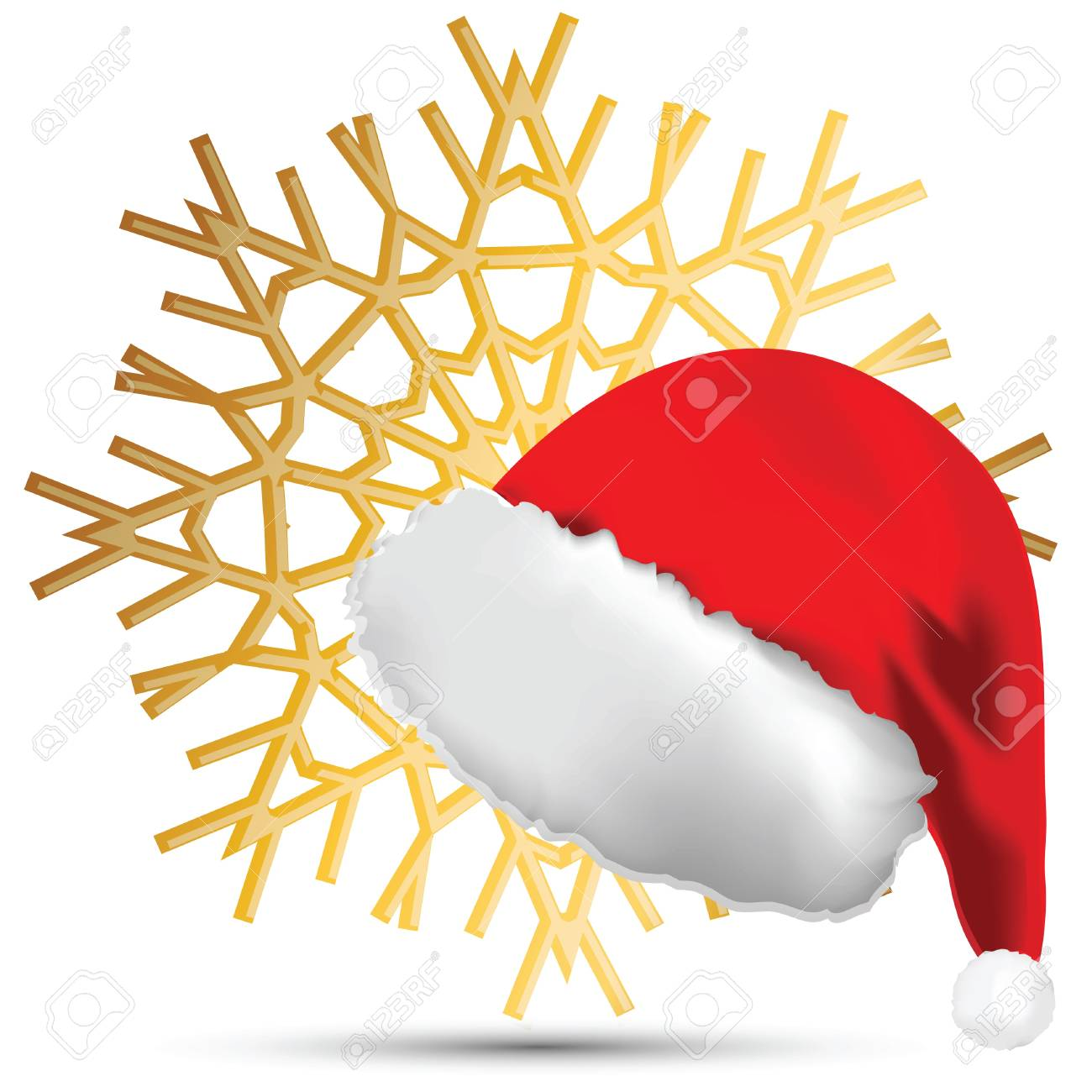 The Snowflake and a cap of Santa Claus on a white background Stock Vector - 10563592