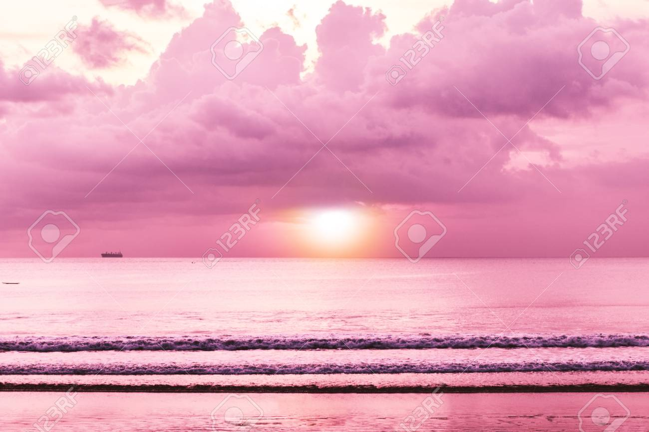 Colorful Tropical Sunset Sea With Sunset Beach View Wallpaper