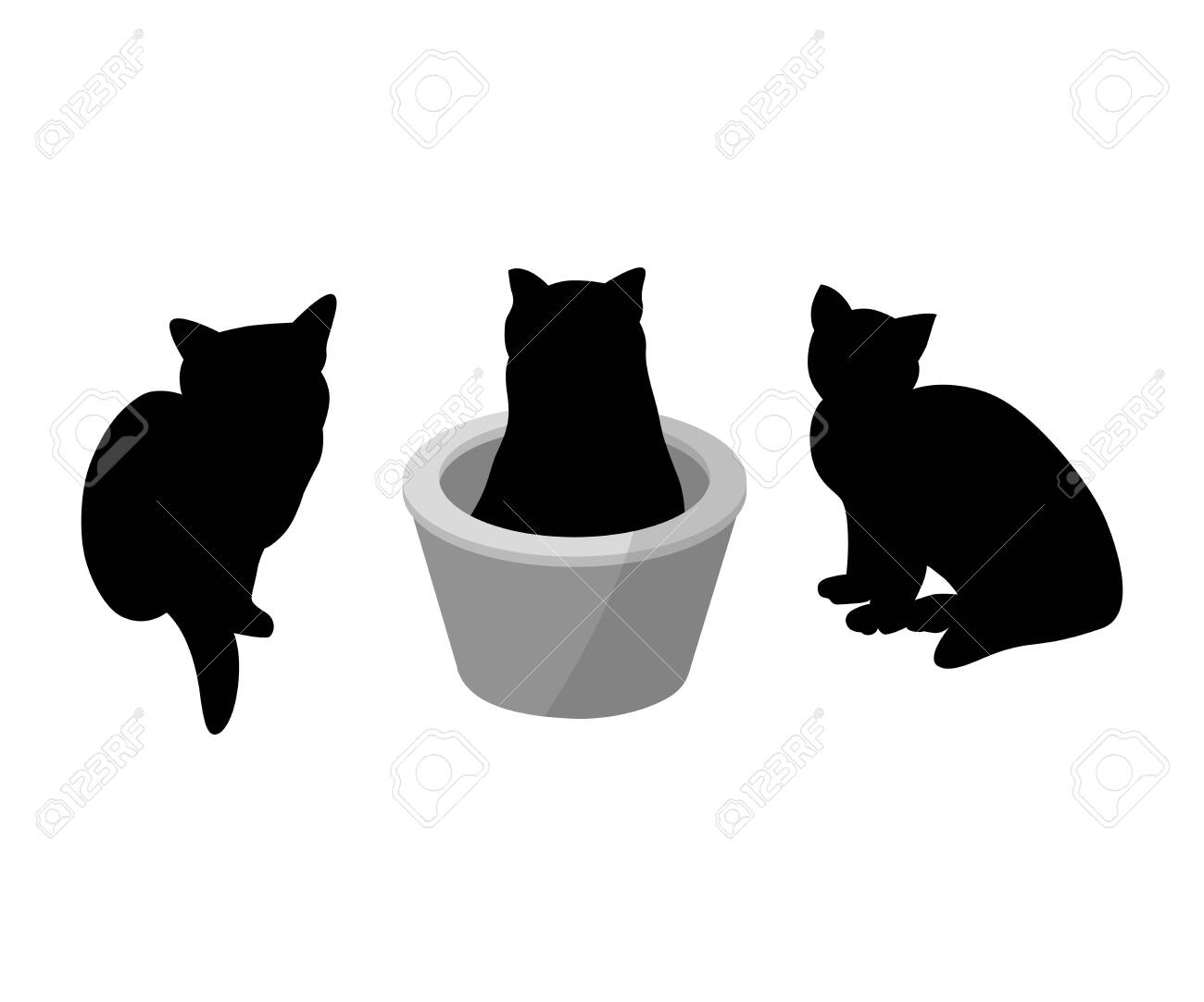 Set of three black silhouette of cats on white background. Various forms, pose. sits, in a basket. Elements for design, pet shop, food for animals. Vector illustration - 122479983
