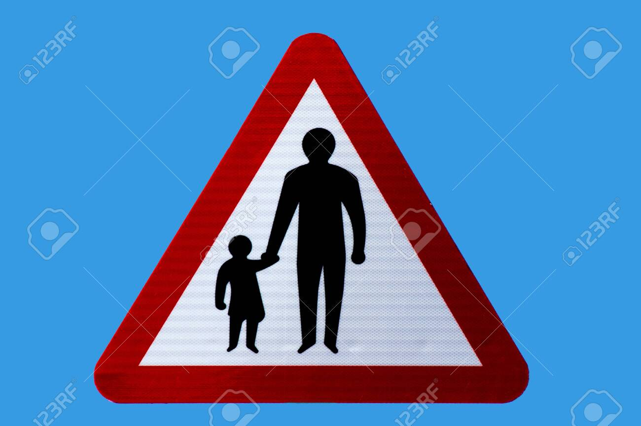 Triangular road safety warning sign for pedestrians in road or no footway. Isolated. - 143133909