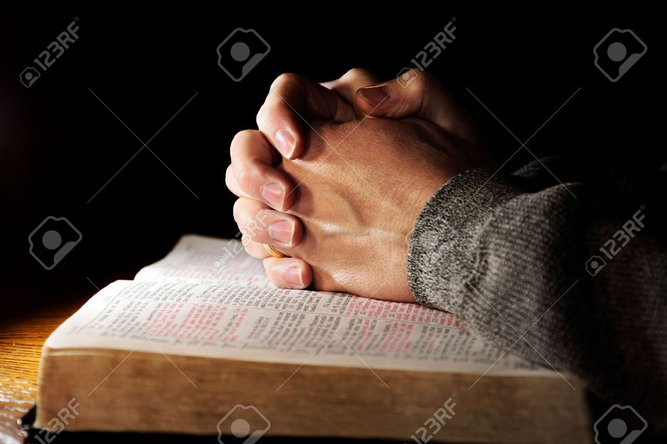 Bible Praying Hands Man Stock Photo - 3102870