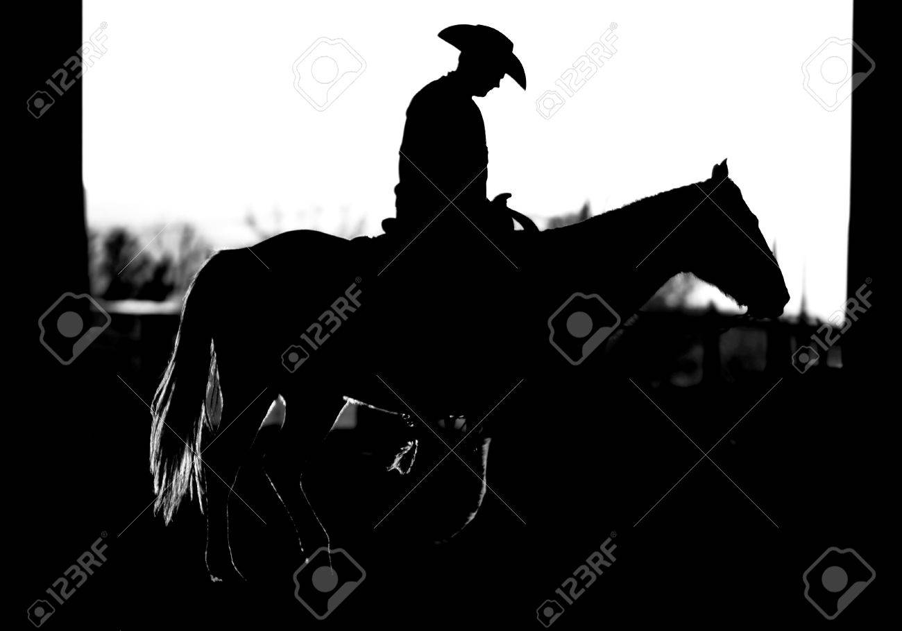 Cowboy and Horse Silhouette (BW) Stock Photo - 9013920