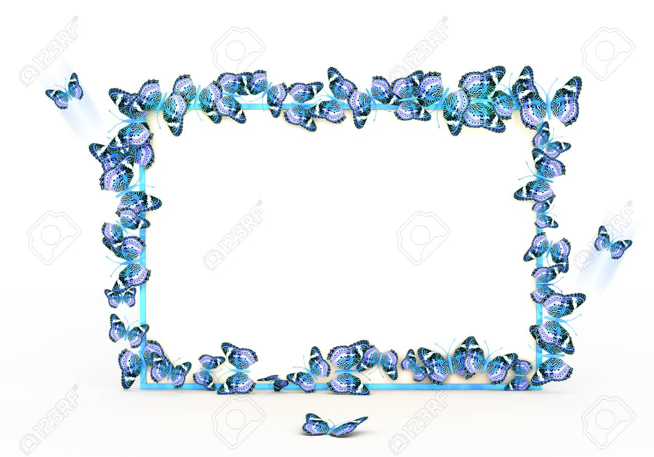 Colorful Butterflies Border Design Mockup. Template For Wedding ...