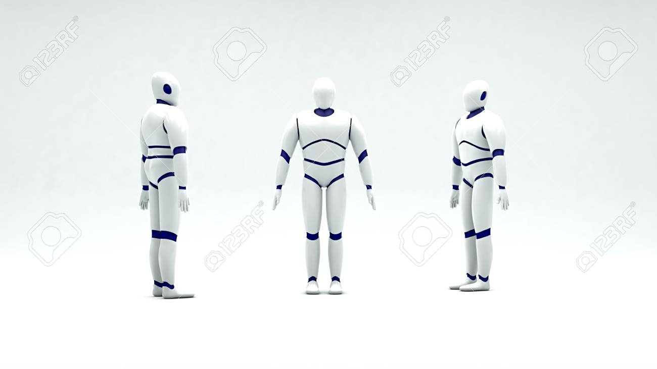 3D model of humanoid robot made of white plastic on a white background