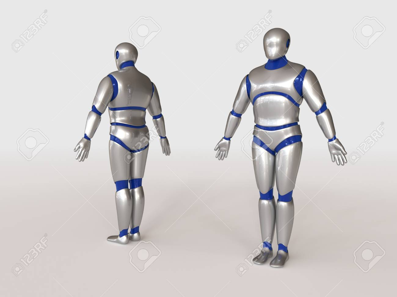 3D model of humanoid robot made of metalic plastic on a white