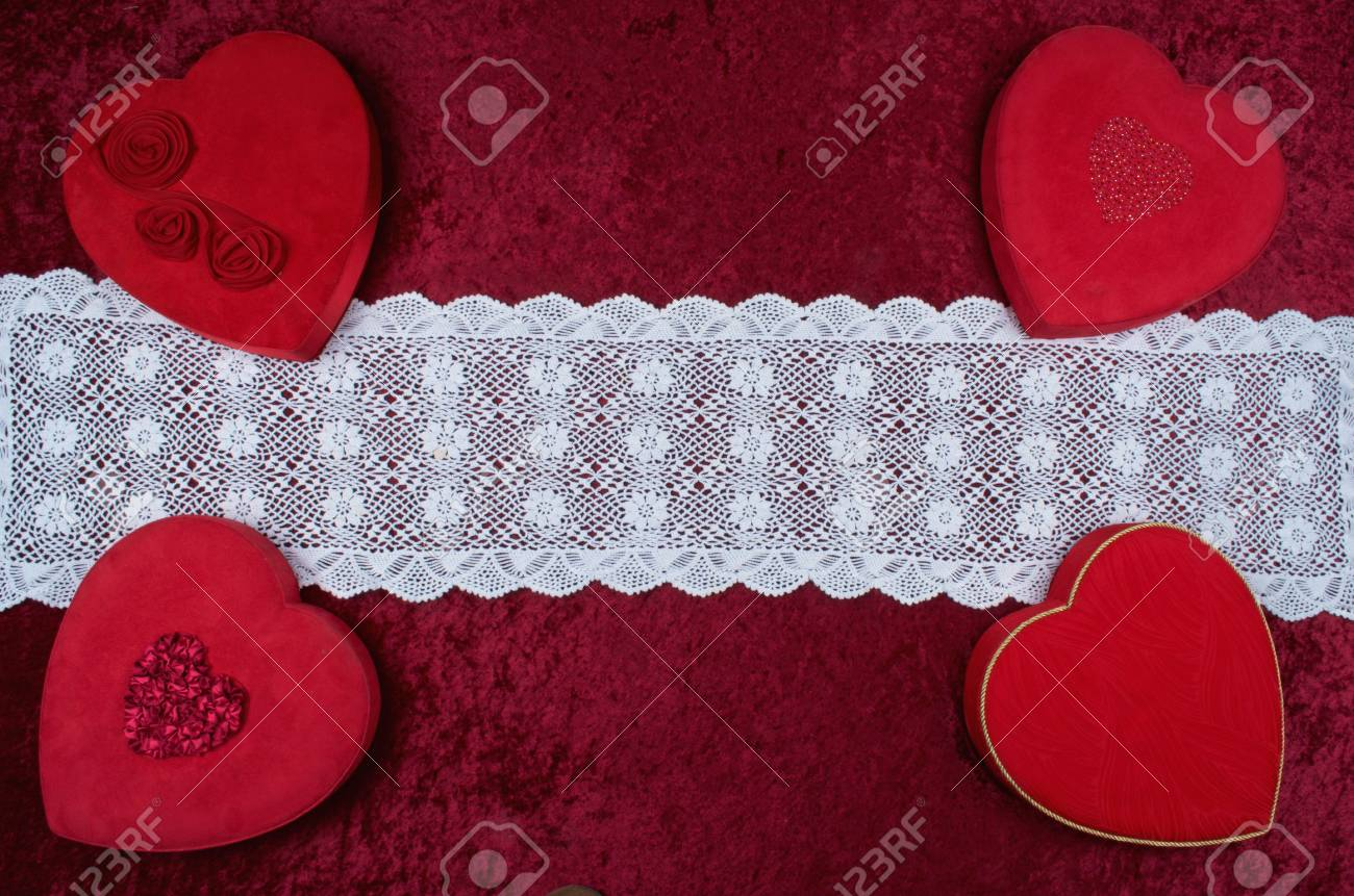 Valentine BackgroundFour Hearts In Corners Lace Runner