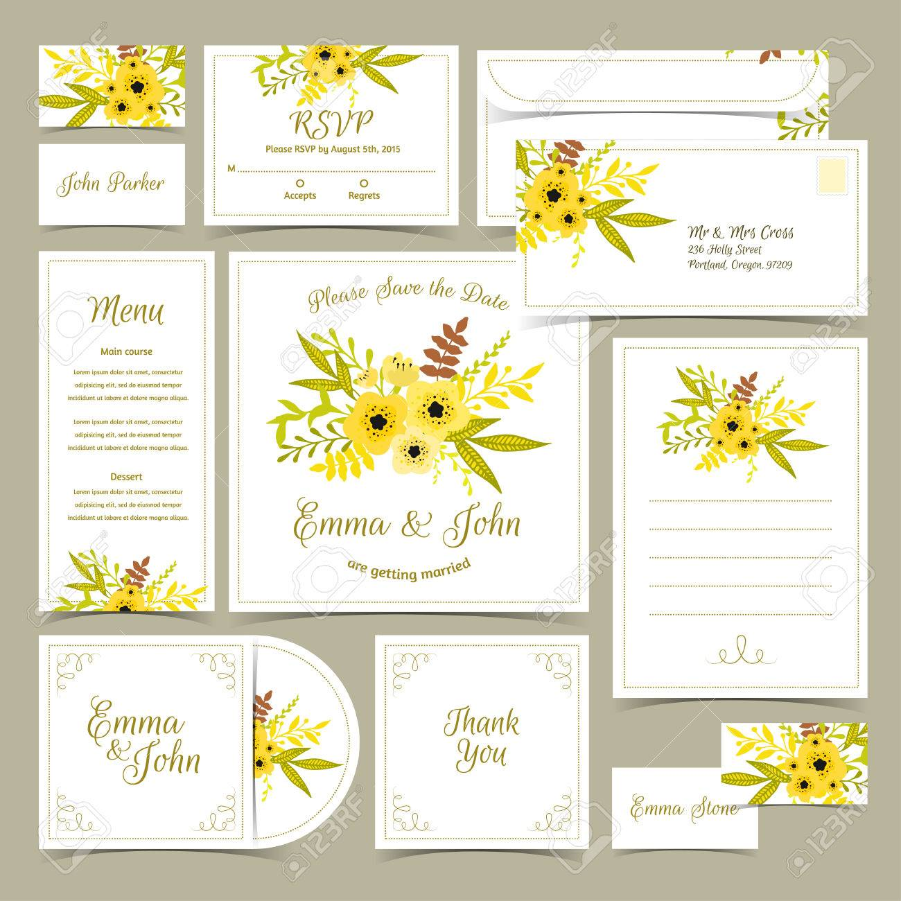 Collection of wedding invitations card template floral rsvp card collection of wedding invitations card template floral rsvp card invitation menu banco stopboris Images
