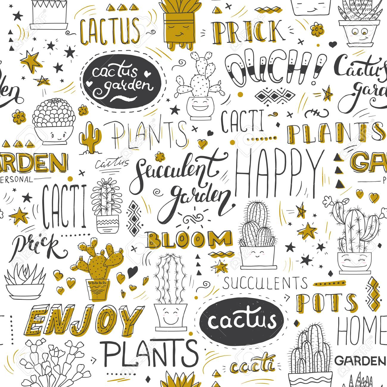 Vector Typographical Seamless Pattern With Succulents Cactuses And