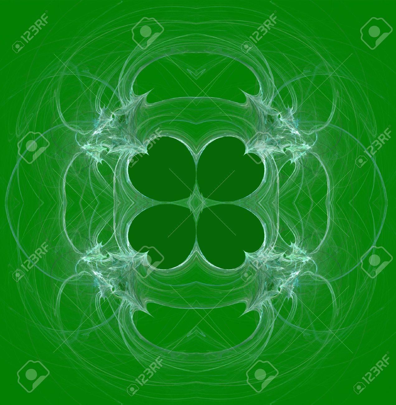 緑と白のシームレスなクローバー抽象的なフラクタル壁紙 S 聖