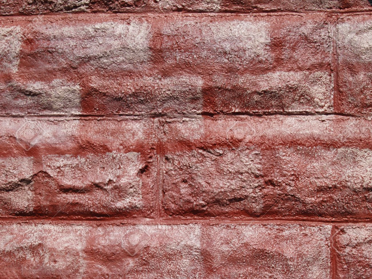 Grafiti wall red - Stock Photo Textured Concrete Block Wall Painted To Look Like Red Bricks Graffiti Style