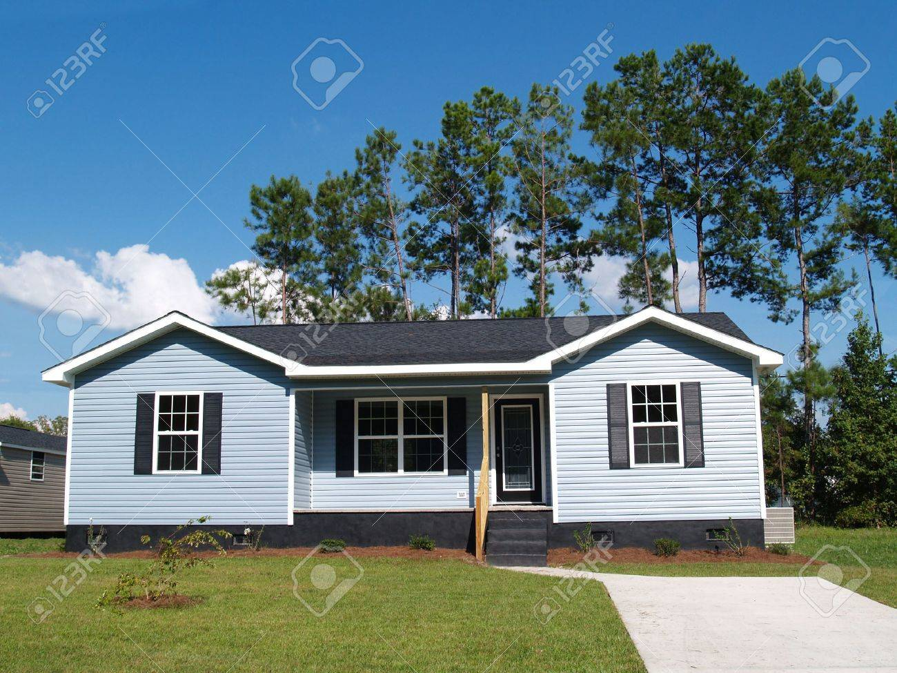 one story house stock photos pictures royalty free one story one story house powder blue low income single story home with porch
