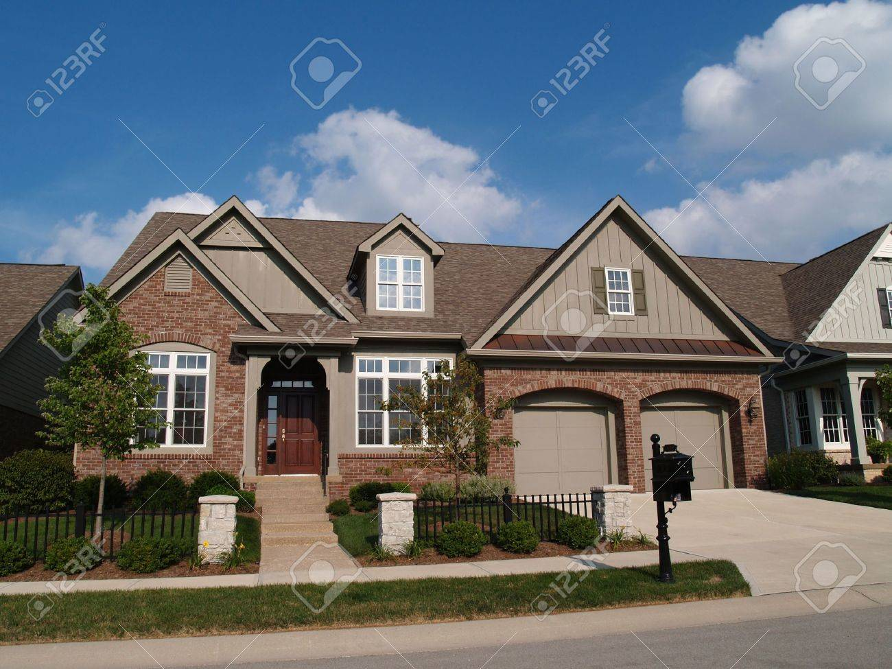 Small home with double garage in a neighborhood where the houses are built close together with very little yard. - 5862578