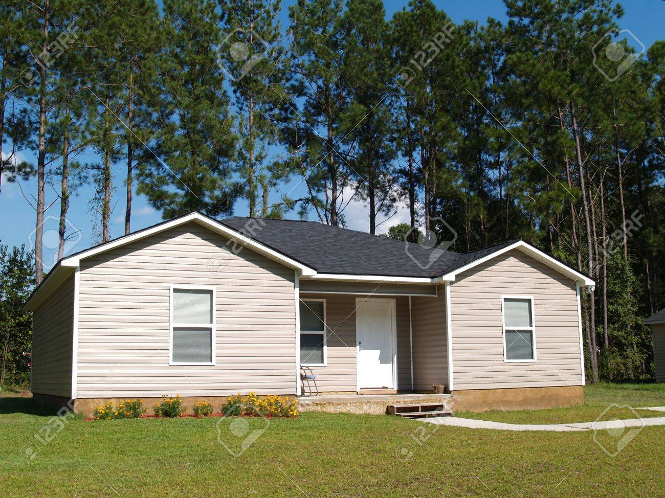 Small low income home with tan vinyl siding. - 6511115