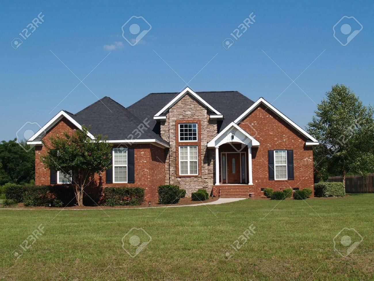 One story new stone and brick residential home. - 6511114