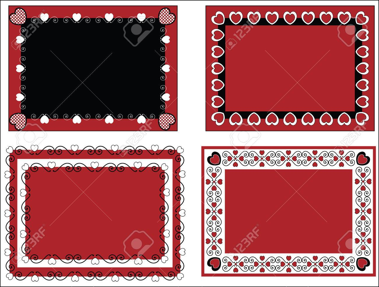 Four Red, Black And White Valentine Borders, Frames Or Tags With Gingham  Trim.