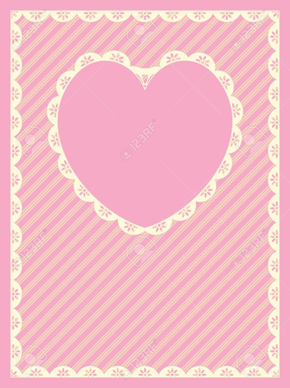 in pink, gold and ecru stripes with Victorian eyelet trim &amp, a heart shaped copy space. - 6325568