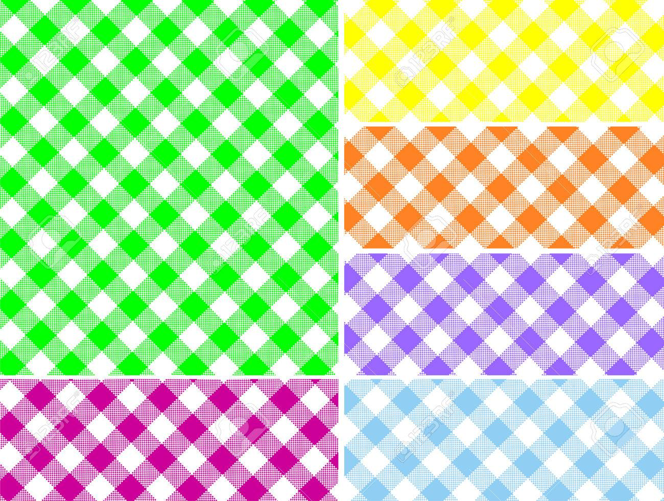 Woven gingham swatches in six colors that can be easily changed. - 6803396