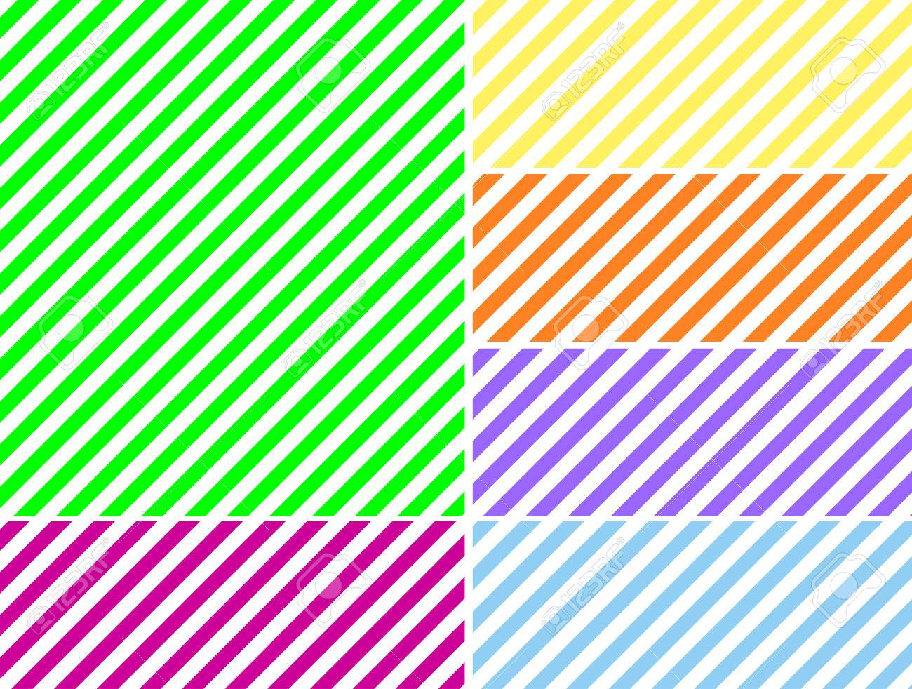 Seamless, continuous, diagonal striped background in six spring colors. - 6882182