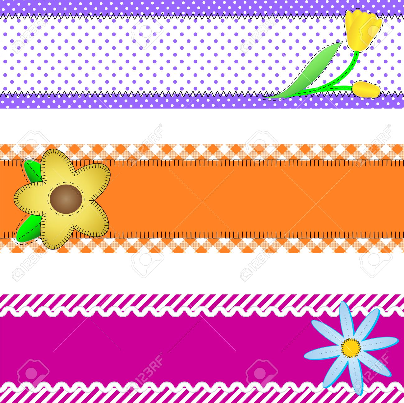 Three banners or borders of stripes, polka dots, or gingham with flowers, accent quilt stitches and plenty of copy space. - 7256366