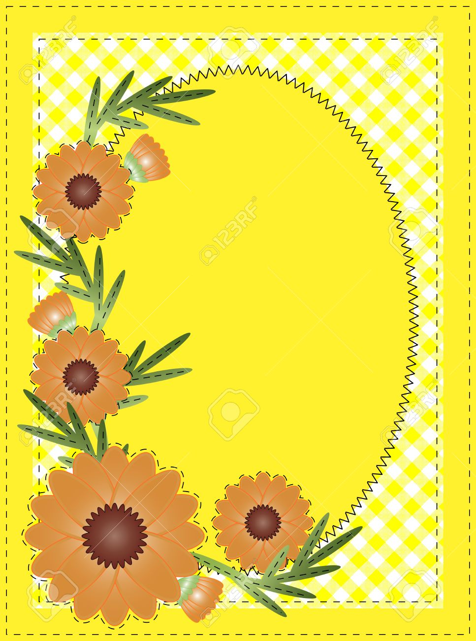 Yellow oval copy space with gingham and orange flowers border or frame. (eps10) Stock Vector - 7359683