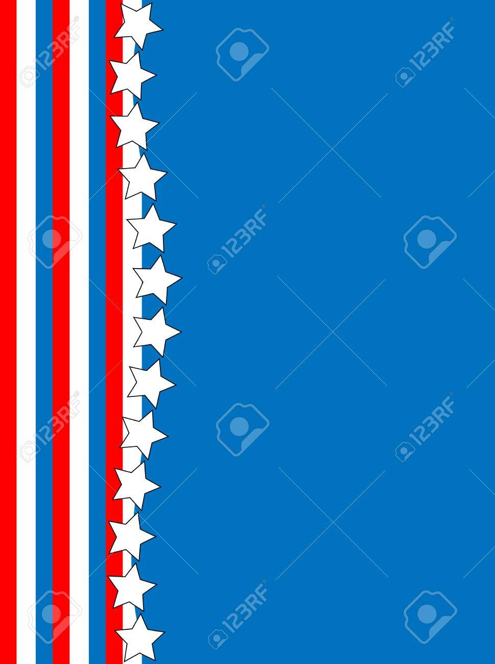 Red, White and blue patriotic frame or border with a striped and star background with copy space Stock Vector - 13092442