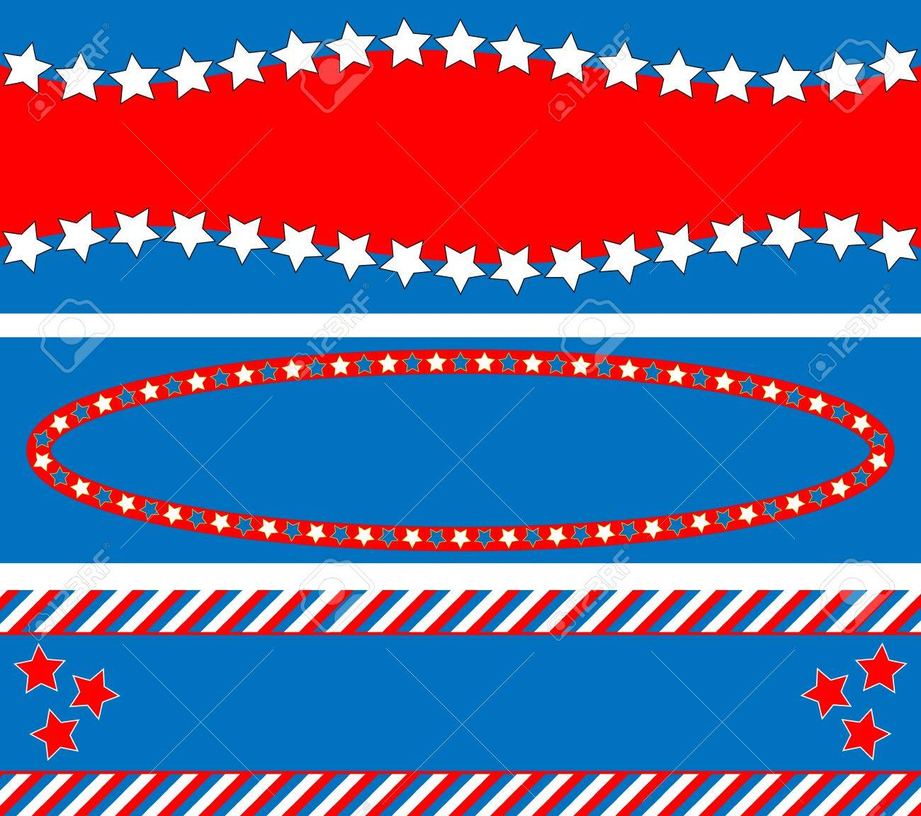 3 Red White And Blue Patriotic Frames Or Border Backgrounds
