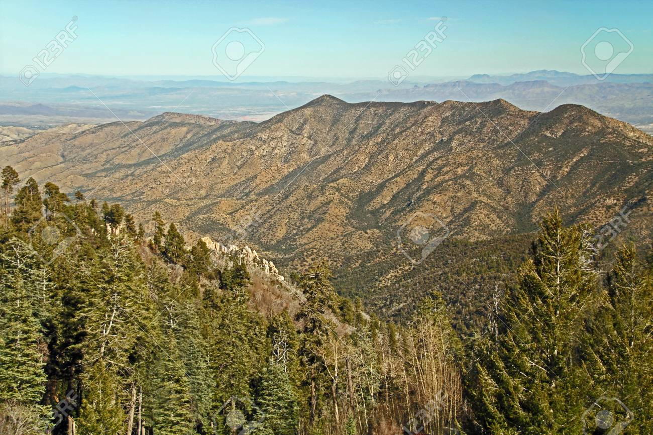 panoramic view from mt. lemmon ski valley on mount lemmon in.. stock