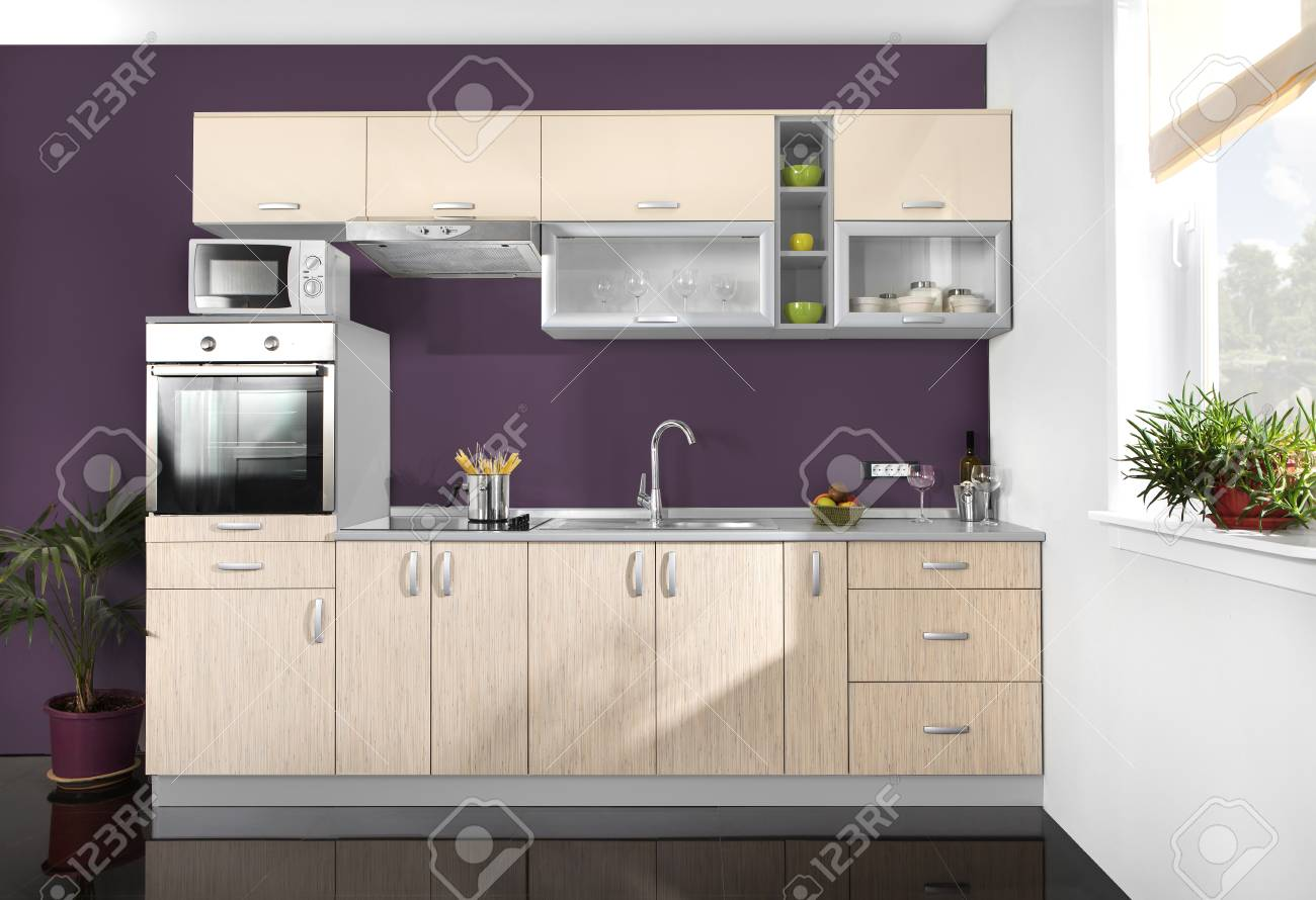 Meuble De Cuisine Violet interior of a modern kitchen, wooden furniture, simple and clean.