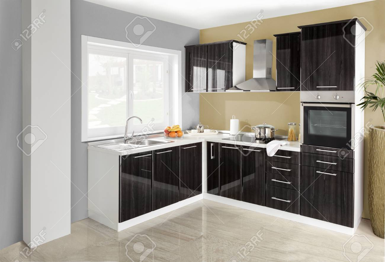 Cuisine Bois Et Metal interior of a modern kitchen, wooden furniture, simple and clean.