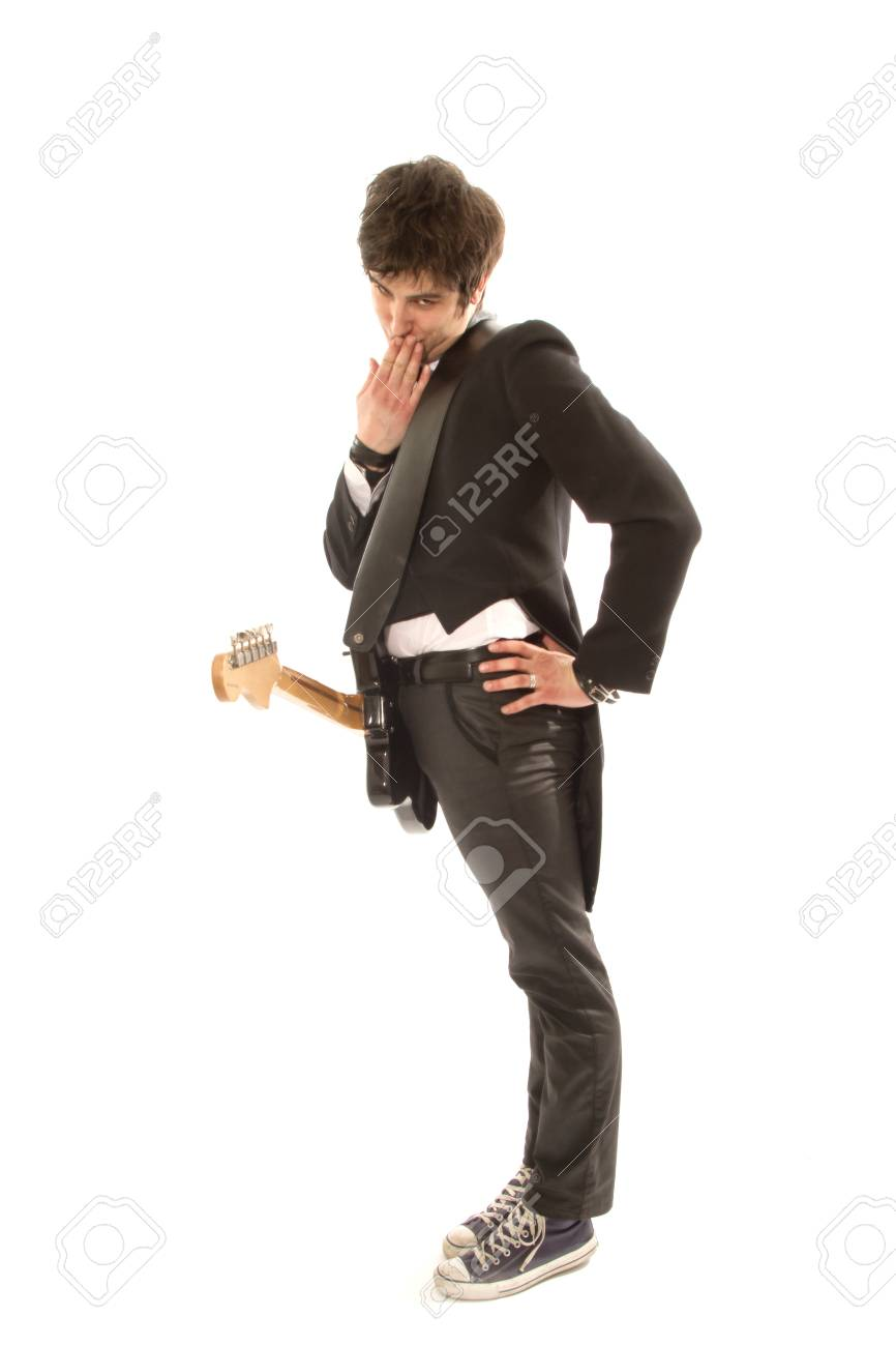funny and charismatic guitarist in a suit with guitar Stock Photo - 18495580