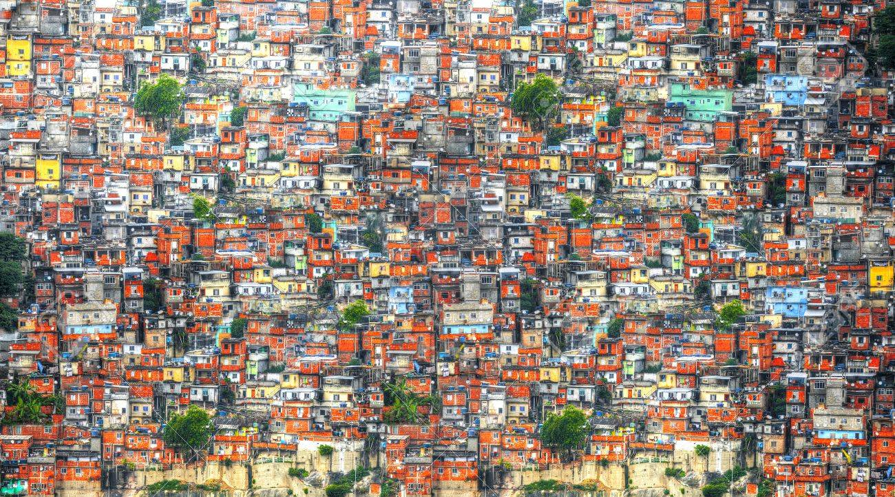 colorful painted buildings of favela in rio de janeiro brazil stock
