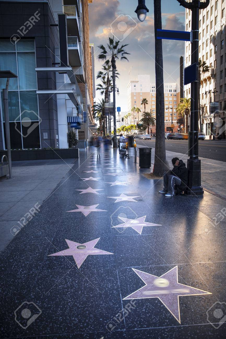 Walk of Fame at sunset on Hollywood Boulevard - 61026503