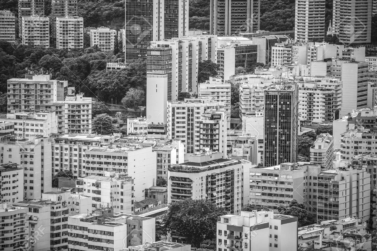 Financial downtown of rio de janeiro brazil black and white photography stock photo