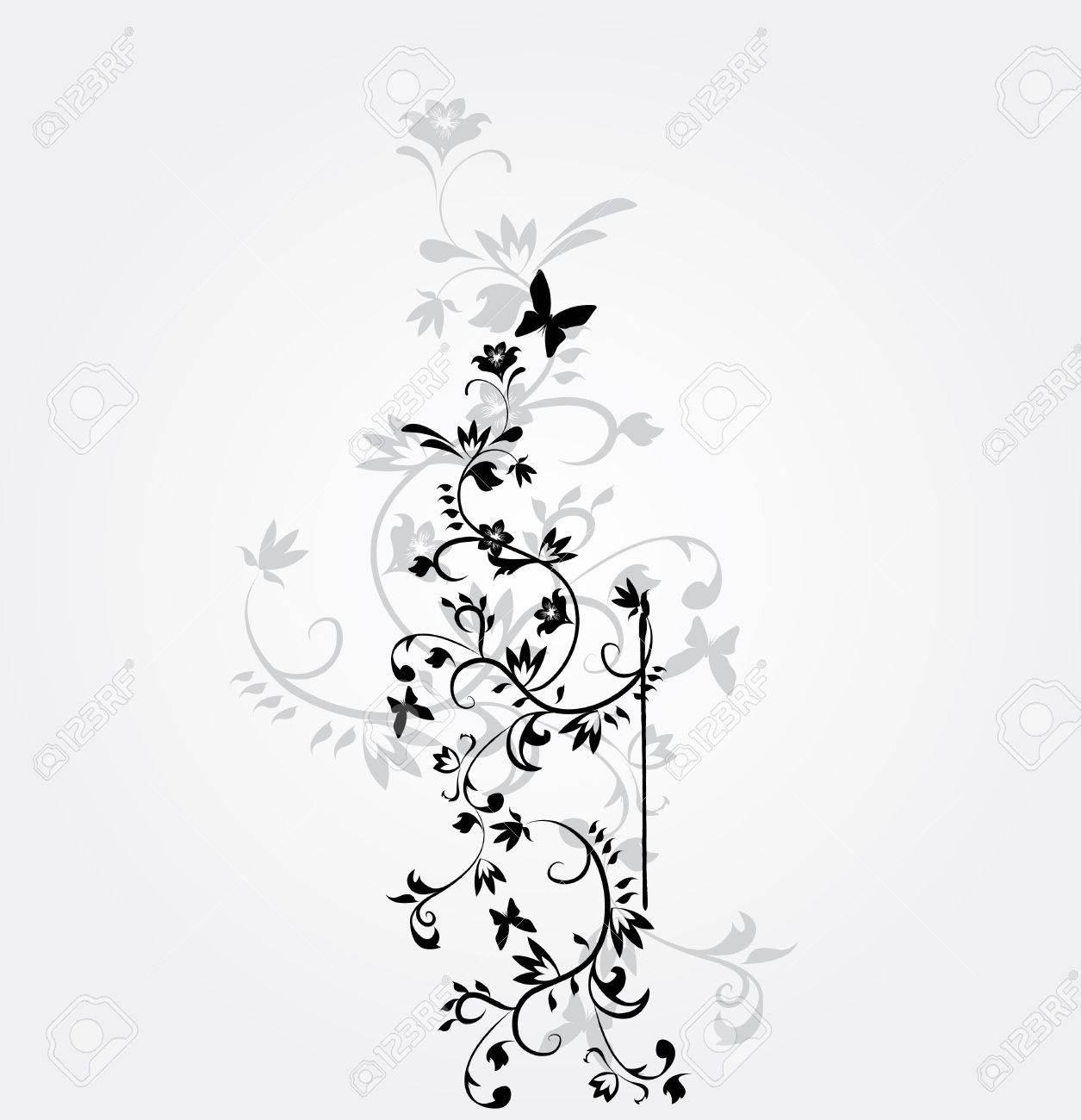 Flower Vector Black And White Vector Flower Pattern on White