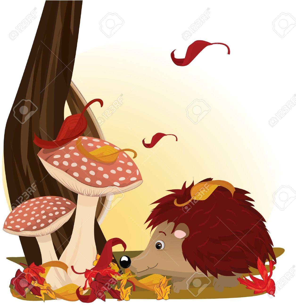 Hedgehog under mushroom Stock Vector - 7747786