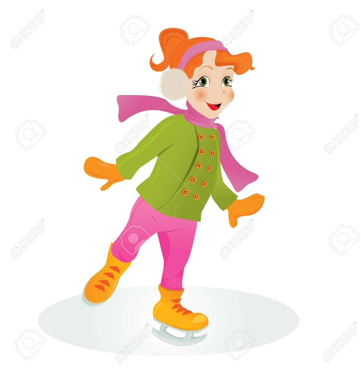 Ice skating girl. Stock Vector - 8001270