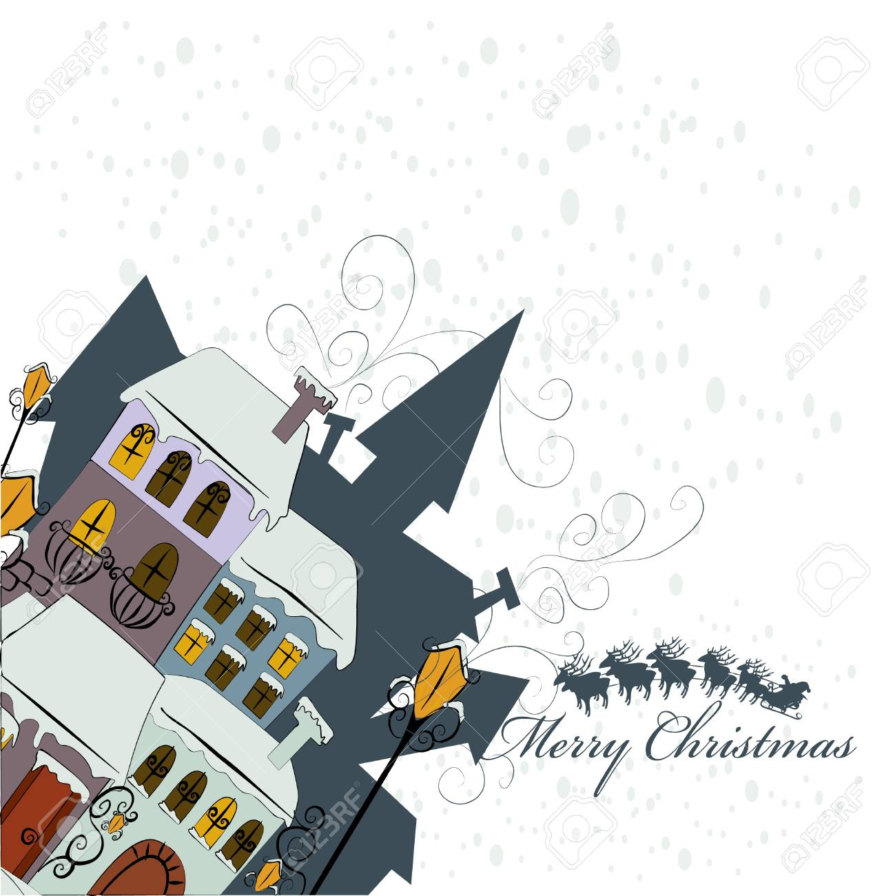 Santa Claus comes to city Stock Vector - 8345629
