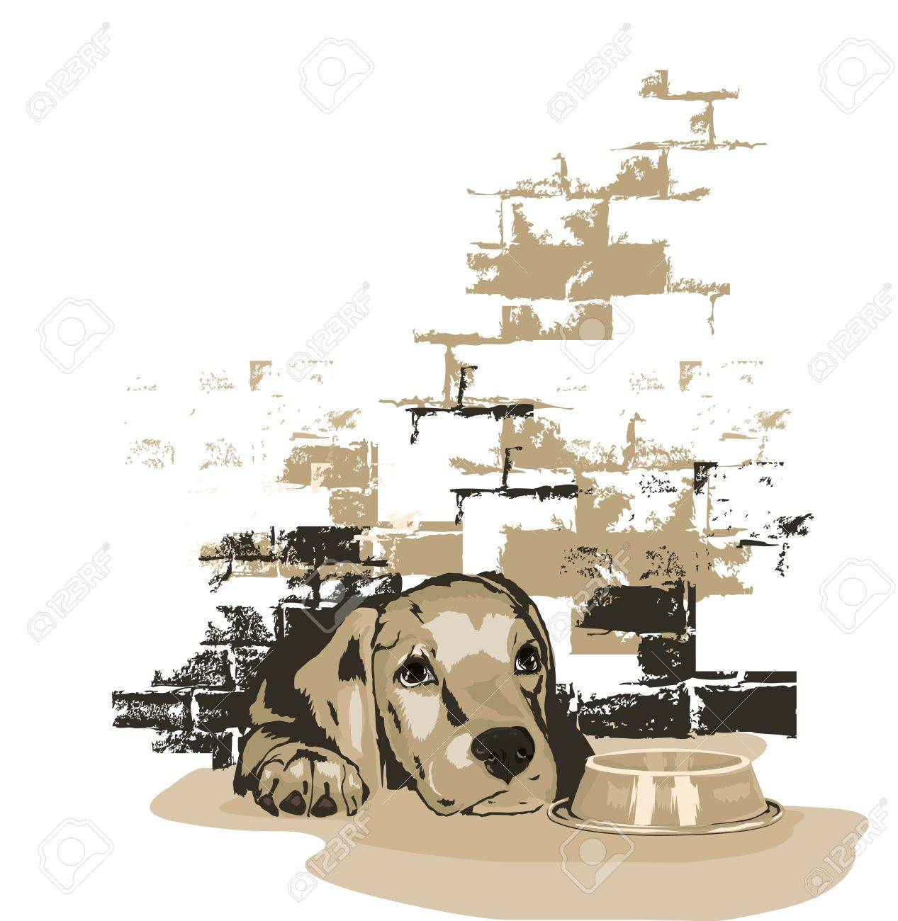 Little doggy waiting for food Stock Vector - 10999775