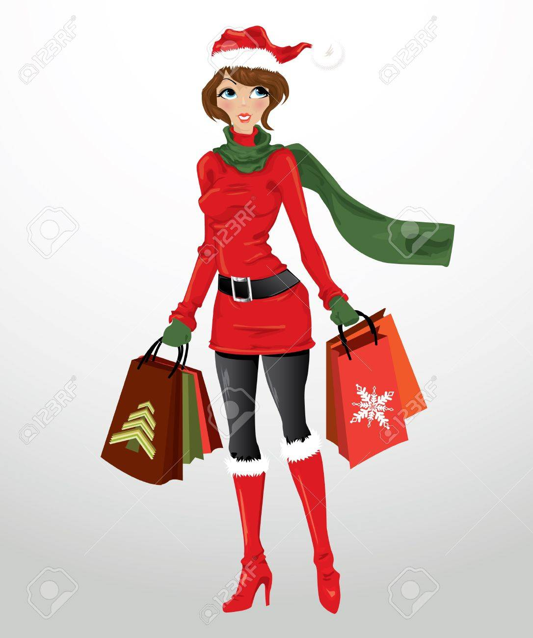 Woman with shopping bags Stock Vector - 11439896