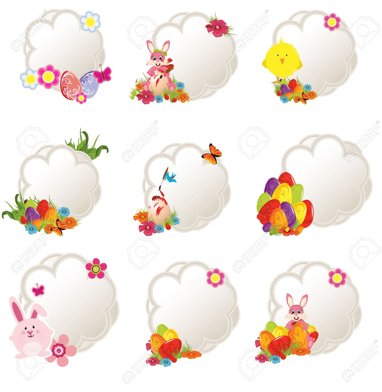 collection of different decorative easter tags Stock Vector - 12964055