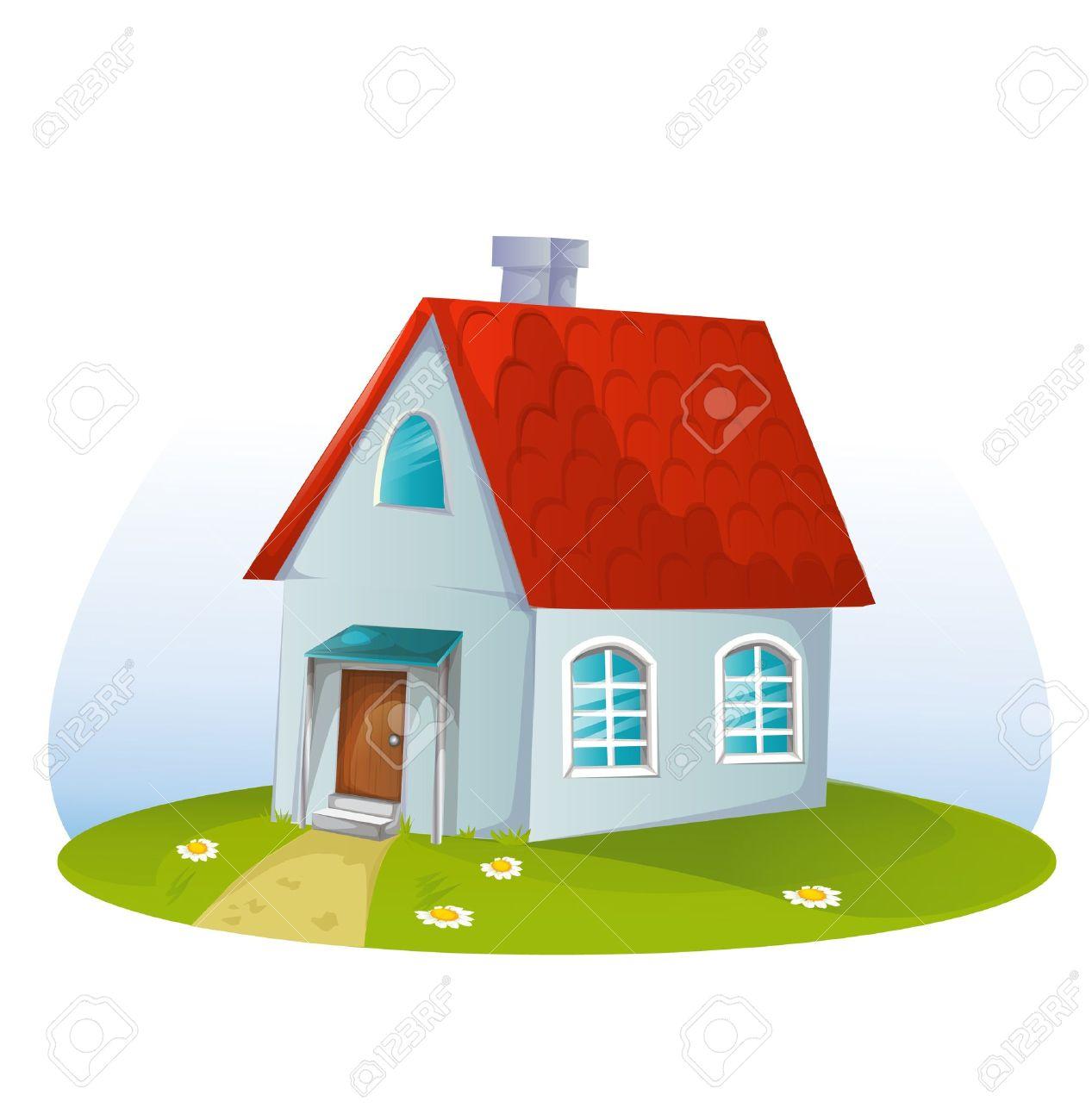 Banque dimages maison de dessin animé sur le fond blanc