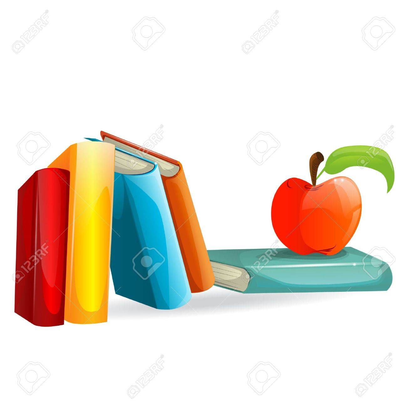 Books and an apple illustration Stock Vector - 15253528