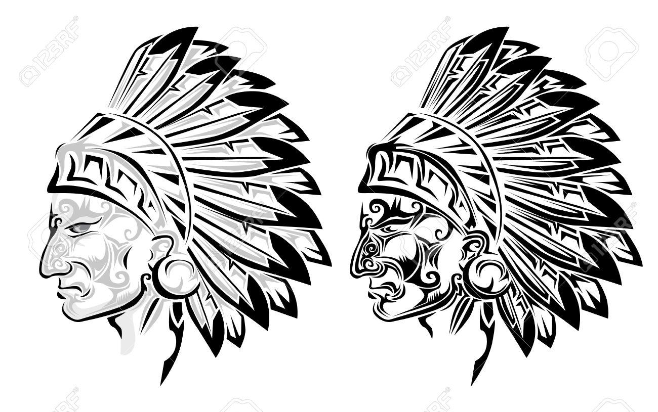 Préférence Indien De L'Amérique Chef Tatouage Clip Art Libres De Droits  CS42