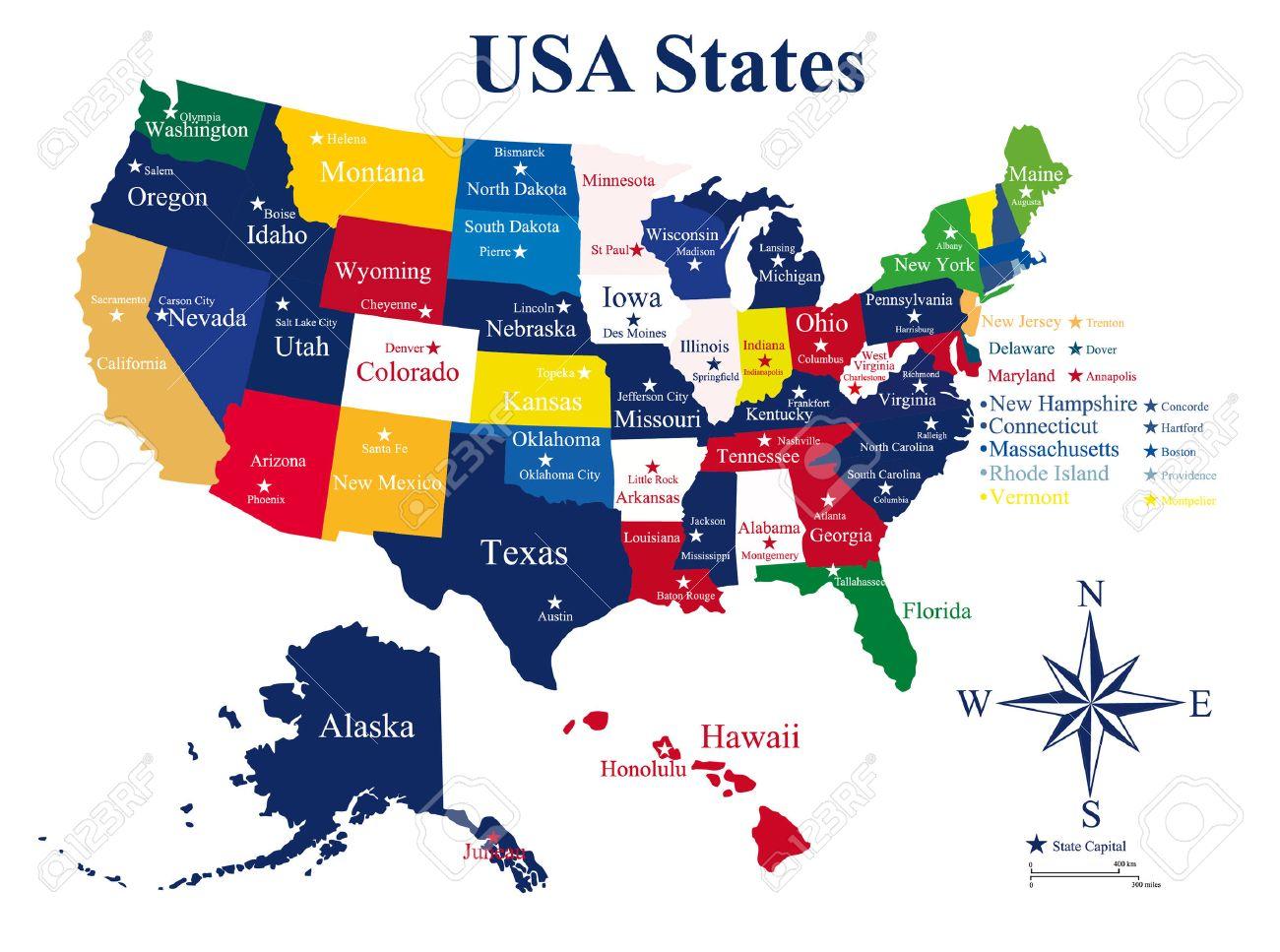 USA Mapa Států A Hlavních Měst Royalty Free Kliparty Vektory A - Usa mapa