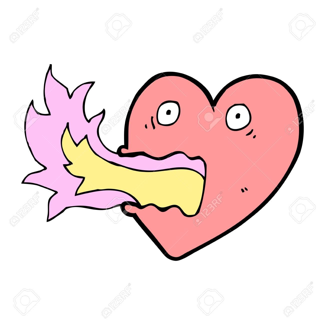 cartoon heart with flames Stock Vector - 16124821