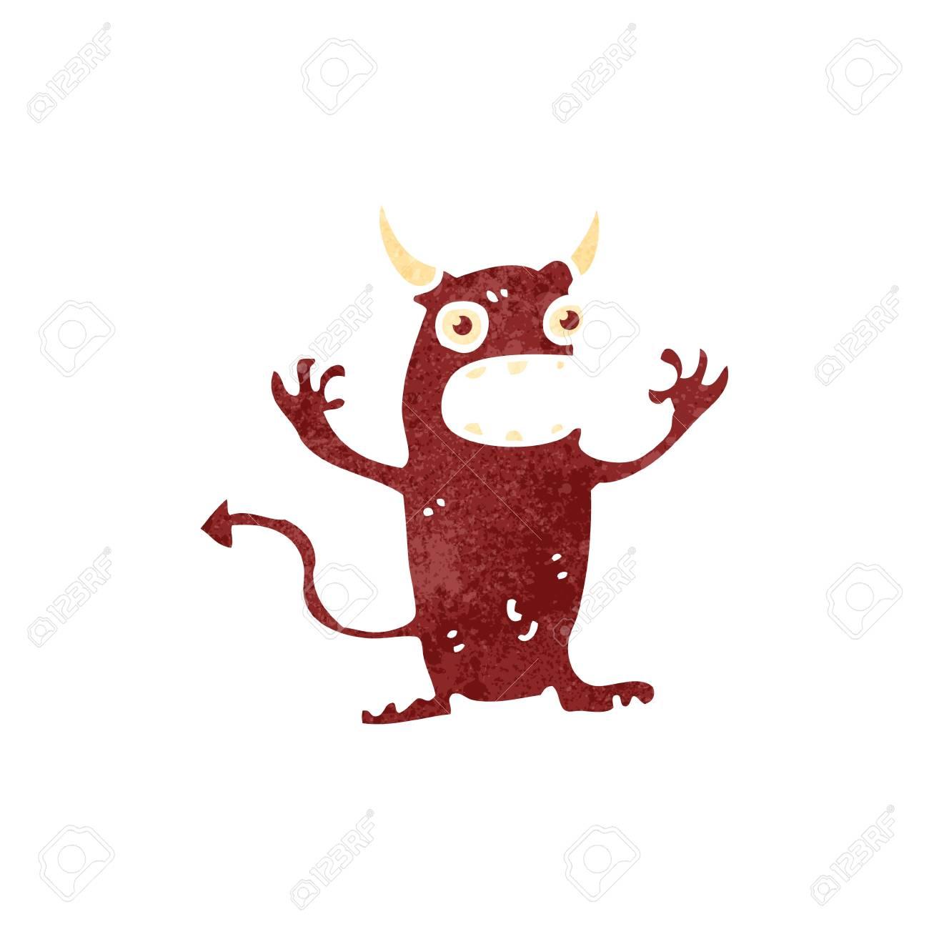 Vettoriale retrò cartone animato piccolo diavolo image