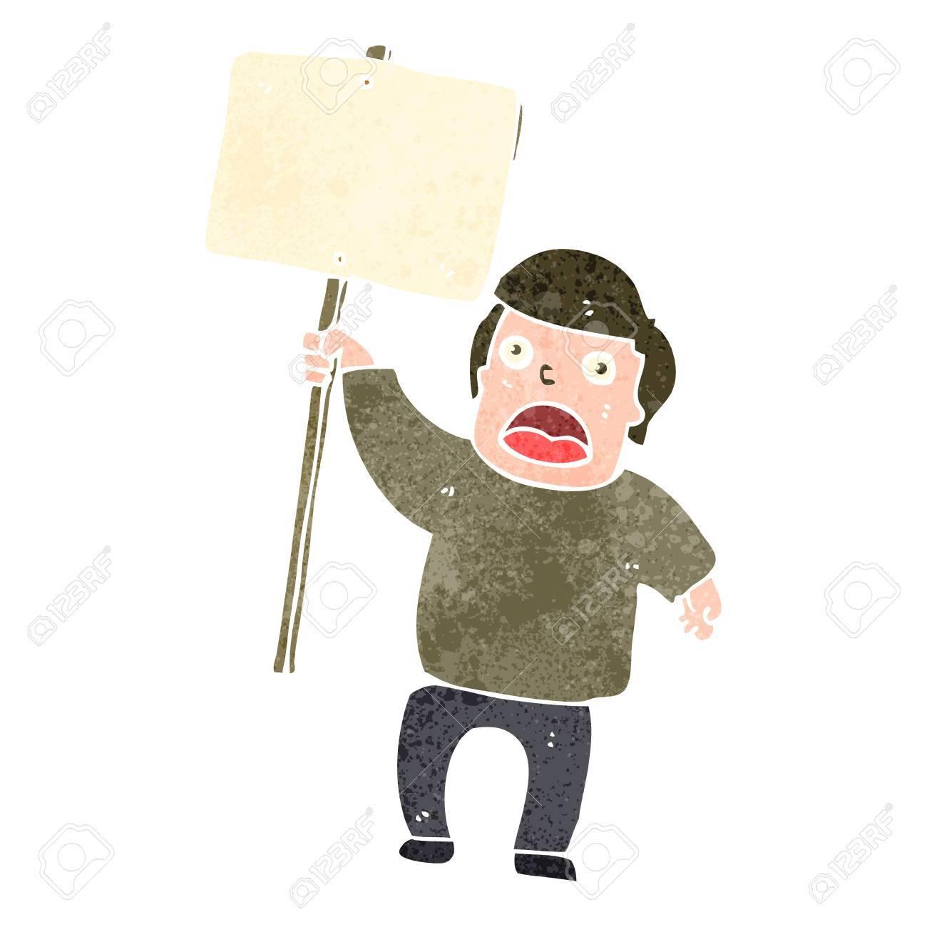 retro cartoon protester with sign Stock Vector - 22188313