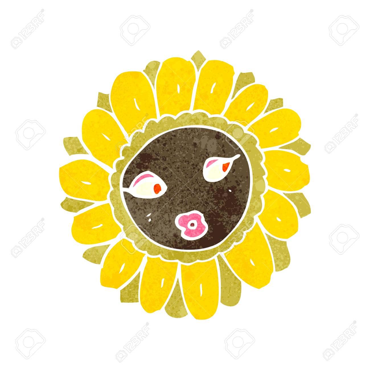 retro cartoon pretty sunflower Stock Vector - 22188322