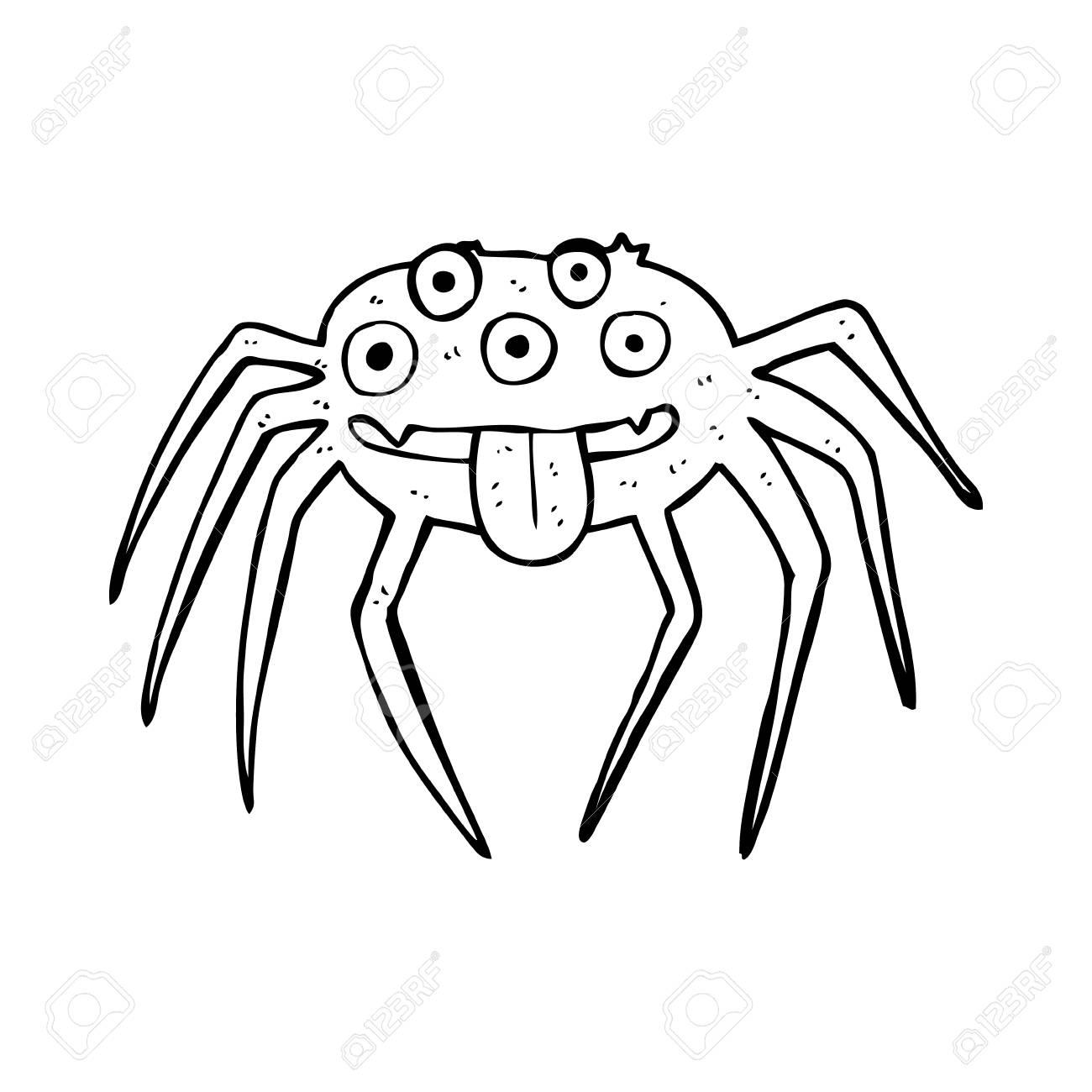 Dibujos Animados Bruto Arana De Halloween Ilustraciones Vectoriales - Dibujos-araas-halloween